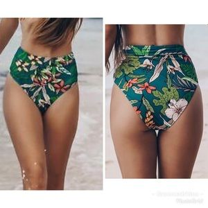 NWT Cupshe High Waisted Tropical Print Bottoms